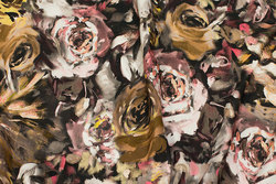 Cotton-jersey in brown-golden colors with roses