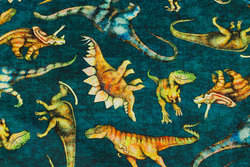 Dark green patchwork-cotton with dinosaurs