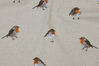 Decoration fabric in linen-look with robins
