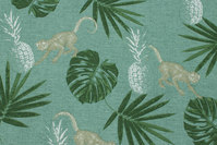 Deko-fabric in dusty-green with leaves and monkies