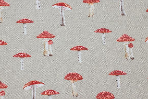 Deko-fabric in linen-look with red mushrooms