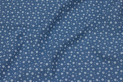 Double-woven, soft cotton (gauze) in dove-blue with small white flower