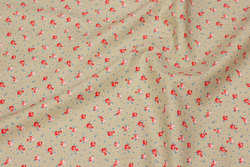 Firm cotton in beige with small red roses
