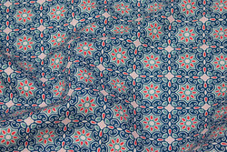 Firm cotton in blue and red retro-pattern