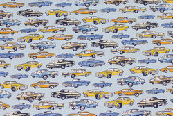Firm, light blue cotton with cars
