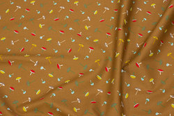 Firm, light brown cotton with small mushrooms