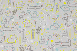 Firm, light grey cotton with Africa-animals