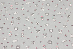 Firm, light grey cotton with small animal heads