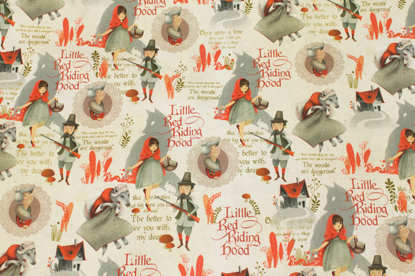 Firm, light sand-colored cotton with it small little red riding hood