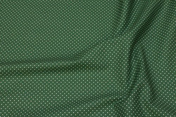 Firm, mos-green cotton with white mini-dots