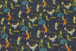 Firm, navy blue cotton with Peter Pan motifs