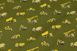 Firm, olive-green cotton with yellow motor vehicles