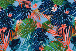 Light blouse-viscose in sky-blue with big leaves in navy and coral