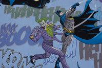 Light blue, firm cotton with Batman and the Joker