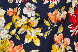Light crinkle blouse and dress fabric in navy with big flowers