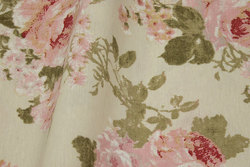 Medium-thickness cotton and polyester in off white with roses