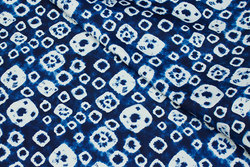 Pant-stretch cotton in blue batique-pattern