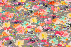 Sand-colored cotton-jersey with coral and pink flowers