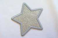Silver star patch diameter 7 cm