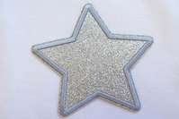 Silver star patch diameter 9 cm
