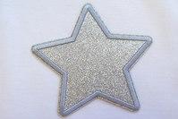 Silver star patch diameter 9 cm
