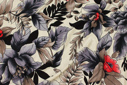 Viscose-jersey in light linen-colored with grey and red flowers