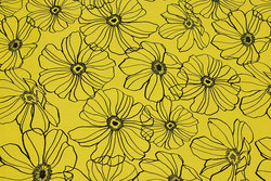 Yellow-green cotton satin with stretch and black stregblomster