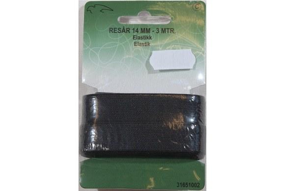 Black elastic 14 mm wide, 3 meters