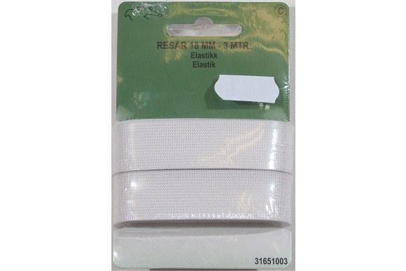 White elastic 18 mm bred, 3 meters