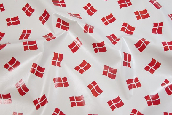 White coated fabric with Danish flags, same sizes