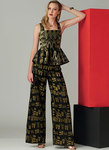 Close-fitting lined top has front and back peplum and back zipper closure. Semi-fitted pants have side zipper closure.