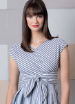 Fitted dresses have sleeve variations, ties at waist, back zipper, and either straight or pleated skirt. A, D; Contrast bodice and ties.