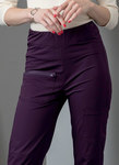 Close fitting pants have elasticized waistband, pockets, and stitched hem variations. For two-way stretch knits only.