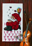 Permin 34-1235. White Christmas calendar with singing Santa.