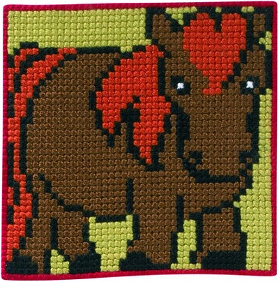 Brown-green wall embroidery with horse