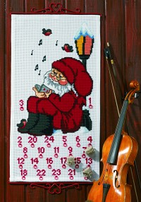 White Christmas calendar with singing Santa. Permin 34-1235.