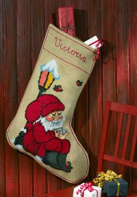 Christmas sock with reading Santa. Permin 41-1241.
