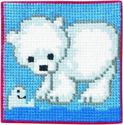 Blue wall embroidery with polar bear