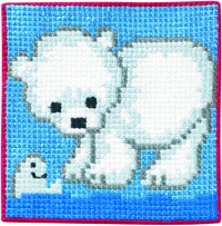 Blue wall embroidery with polar bear. Permin 9163.