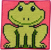 Pink-green embroidery with frog. Permin 9165.