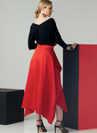 Close-fitting top has dolman sleeves. Skirt has waistband with side draping that forms pockets. For two-way stretch knits only.