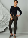 Fitted pull on pants have seaming detail. For four-way stretch knits only.