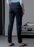 Semi-fitted pull on pants have elasticized waist, drawstring, yokes, and pocket variations. For two-way stretch knits only.