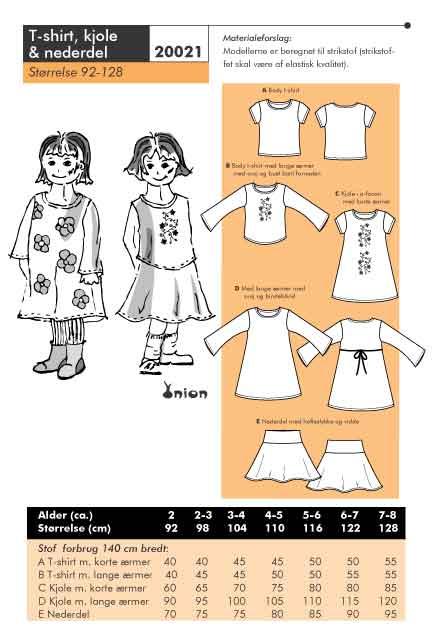 T-shirt, dress and skirt