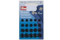 Snap fasteners 6-11 mm, black
