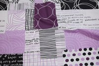 White-black-purple shower curtain fabric with modern pattern