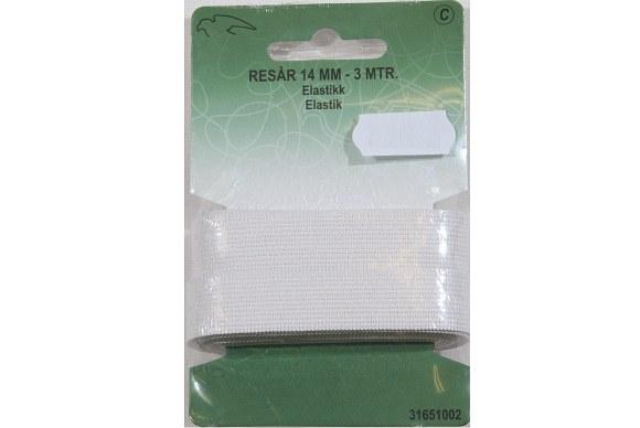 White elastic 14 mm wide, 3 meters