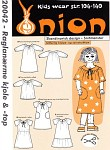 Onion 20042. Raglan sleeves dress and top.