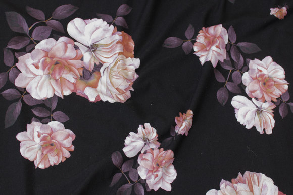 Black cotton-jersey with soft red flowers