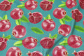 Petrol-colored cotton-jersey with pomegranate.